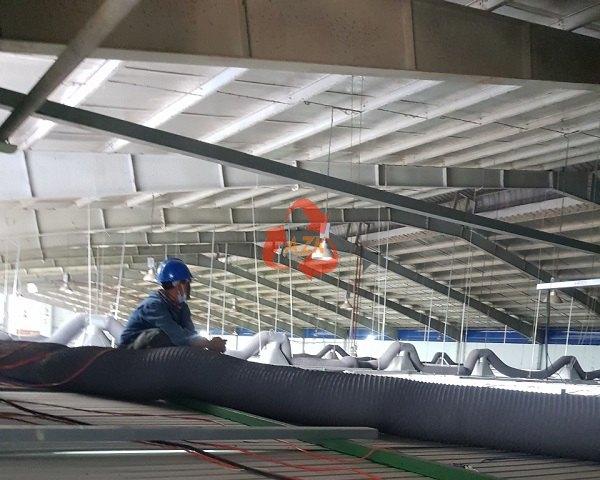 Thi công lắp đặt ống gió vải Fiber cho công ty Boomin Vina